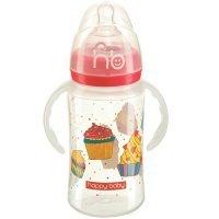 Бутылочка для кормления Happy Baby с ручками Milky stories red 240 мл